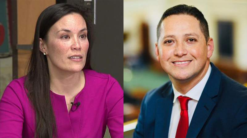 Gina Ortiz Jones, left, and Tony Gonzales, right, are running for Congressional District 23.