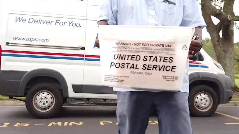 USPS delivering mail to the WJXT studios