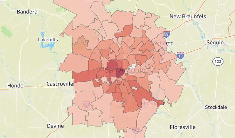 COVID-19 deaths by ZIP code in Bexar County.