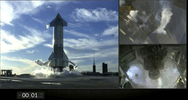 This frame grab from video posted on the SpaceX Twitter page shows views of SpaceX's futuristic Starship just after an automatic engine abort occurred with just 1.3 seconds remaining in the countdown to liftoff of its first high-altitude test flight, Tuesday, Dec. 8, 2020, in southeast Texas. (SpaceX via AP)