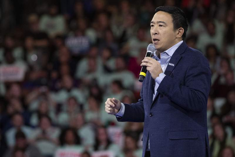 Democratic presidential candidate businessman Andrew Yang speaks during the McIntyre-Shaheen 100 Club Dinner, Saturday, Feb. 8, 2020, in Manchester, N.H. (AP Photo/Mary Altaffer)