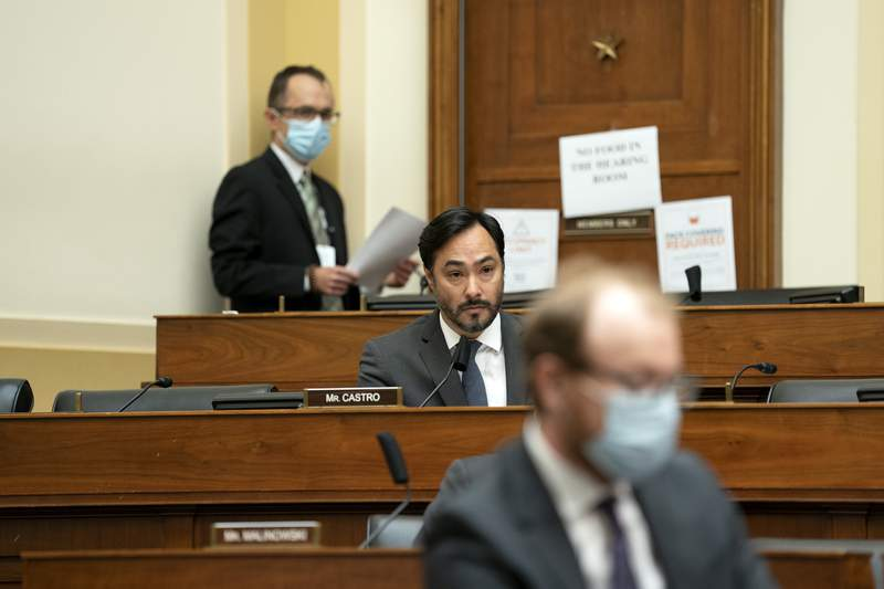 WASHINGTON, DC - SEPTEMBER 16:  Representative Joaquin Castro,(D-TX) center, speaks during a House Foreign Affairs Committee hearing on September 16, 2020 in Washington, DC.  The hearing is investigating the firing of State Department Inspector General Steve Linick.  (Photo by Stefani Reynolds-Pool/Getty Images)