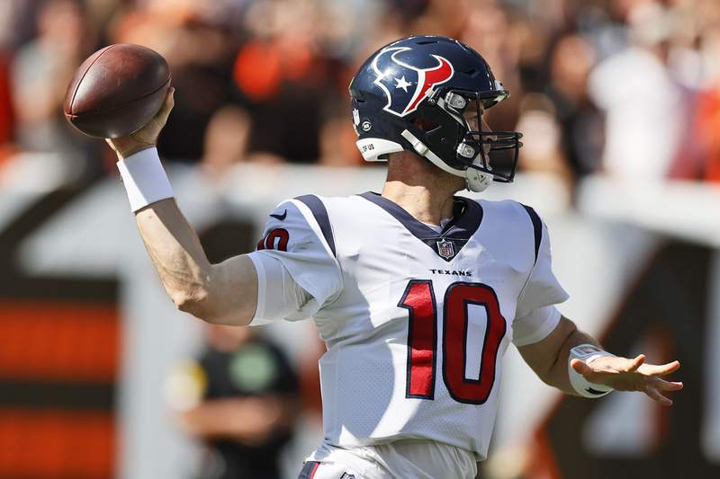 Houston Texans quarterback Davis Mills throws during the second half of an NFL football game against the Cleveland Browns, Sunday, Sept. 19, 2021, in Cleveland. (AP Photo/Ron Schwane)