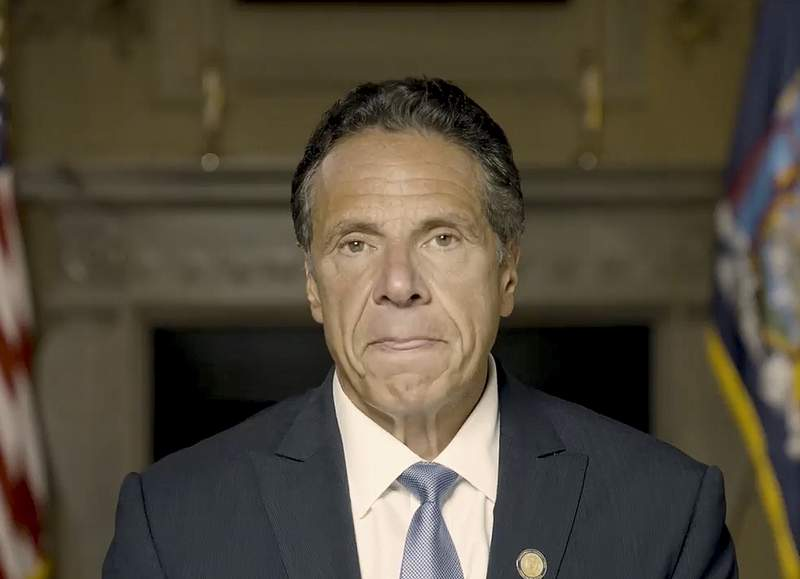 In this image taken video provided by Office of the NY Governor, New York Gov. Andrew Cuomo makes a statement on a pre-recorded video released, Tuesday, Aug. 3, 2021, in New York. An investigation into New York Gov. Andrew Cuomo has found that he sexually harassed multiple current and former state government employees. State Attorney General Letitia James announced the findings Tuesday. (Office of the NY Governor via AP )