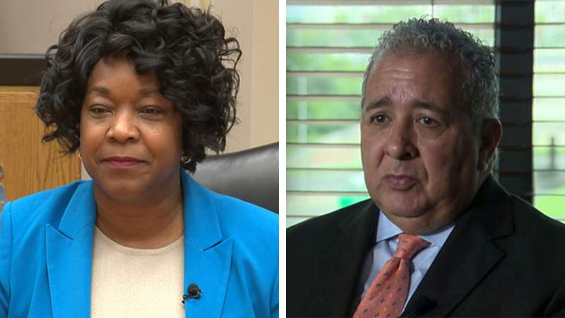 CPS Energy CEO Paula Gold-Williams, left, and San Antonio Water System CEO Robert Puente, right.