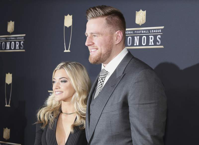 J. J. Watt of the Huston Texans, right, and Kealia Ohai arrives at the 7th Annual NFL Honors at the Cyrus Northrop Memorial Auditorium on Saturday, Feb. 3, 2018, in Minneapolis, Minnesota. (Photo by Michael Zorn/Invision for NFL/AP Images)