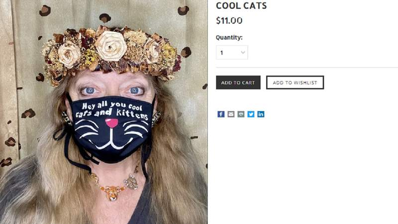 """Big Cat Rescue founder Carole Baskin, prominently featured in Netflix's """"Tiger King: Murder, Mayhem and Madness,"""" has started selling face masks with her oft-quoted catchphrase."""