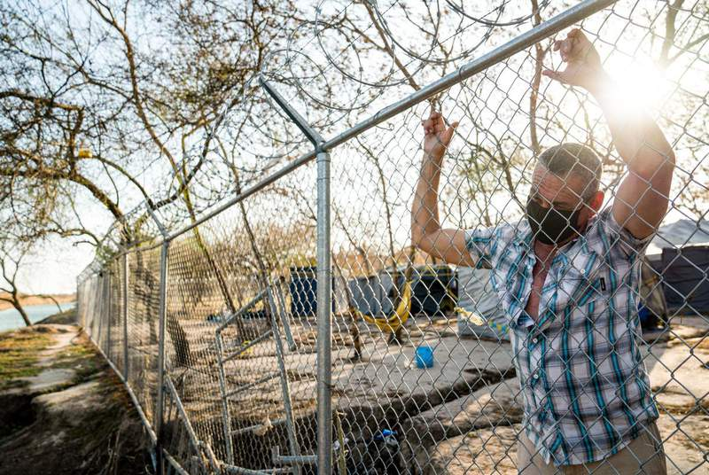 Cuban asylum seeker Joel Fernandez Cabrera outside the migrant camp in Matamoros, Mexico, on Feb. 24. Mexican officials said they fenced off the camp for the safety of migrants and to curb its growth. (Credit: Verónica G. Cárdenas for The Texas Tribune/ProPublica)