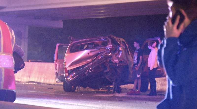 San Antonio police investigate a multi-vehicle crash on Sunday, Dec. 27, 2020,  on the main lanes of eastbound Loop 410 near the Callaghan Road exit.