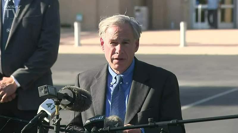 Gov. Greg Abbott holds a news conference in San Antonio.