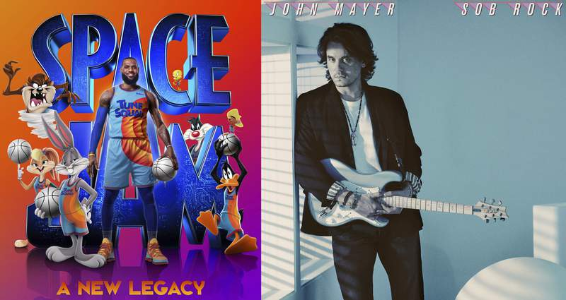 """This combination of photos shows promotional art for the film """"Space Jam: A New Legacy,"""" premiering Friday on HBO Max and in theaters, left, and """"Sob Rock,"""" the latest album by John Mayer, releasing on Friday. (HBO Max via AP, left, and Columbia via AP)"""