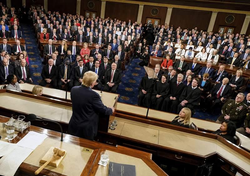 President Donald Trump delivers his State of the Union address to a joint session of Congress on Capitol Hill in Washington, Tuesday, Feb. 4, 2020. (Doug Mills/The New York Times via AP, Pool)
