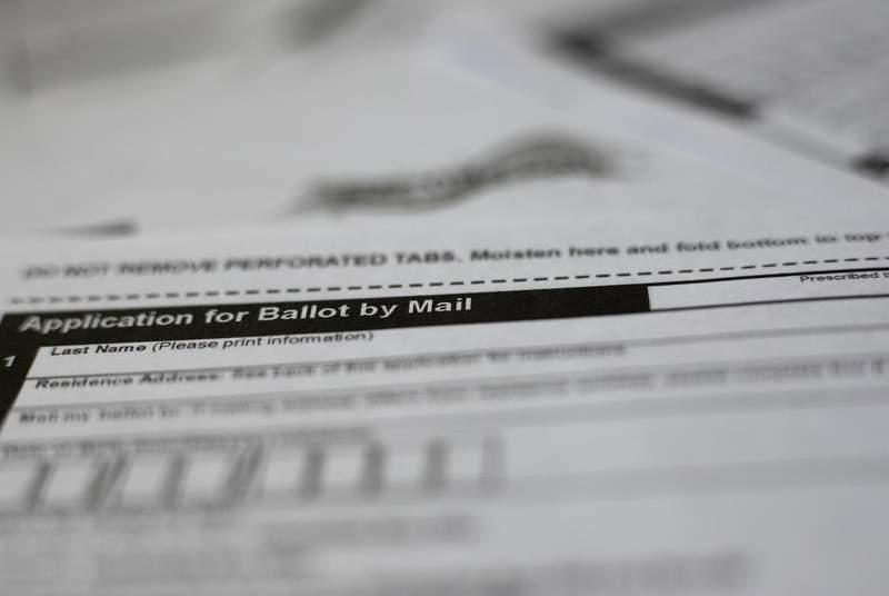 A mail-in ballot application. (Credit: Miguel Gutierrez Jr./The Texas Tribune)