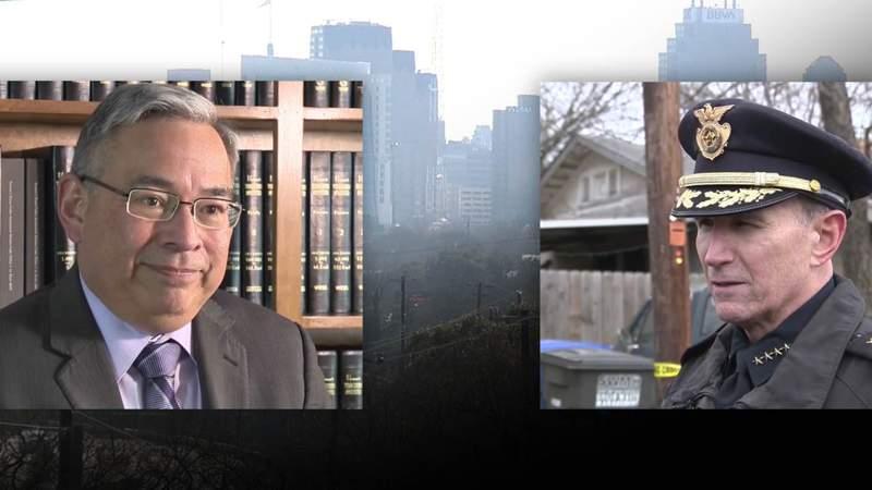 San Antonio City Attorney Andy Segovia (left) and SAPD Chief William McManus (right).