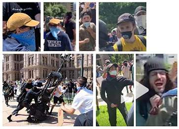 A compilation of images released by the Texas DPS shows a suspect in a case of vandalism on May 30 at the Texas State Capitol.