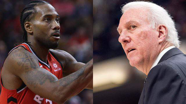 (Kawhi Leonard via Getty Images/Gregg Popovich via AP Images)
