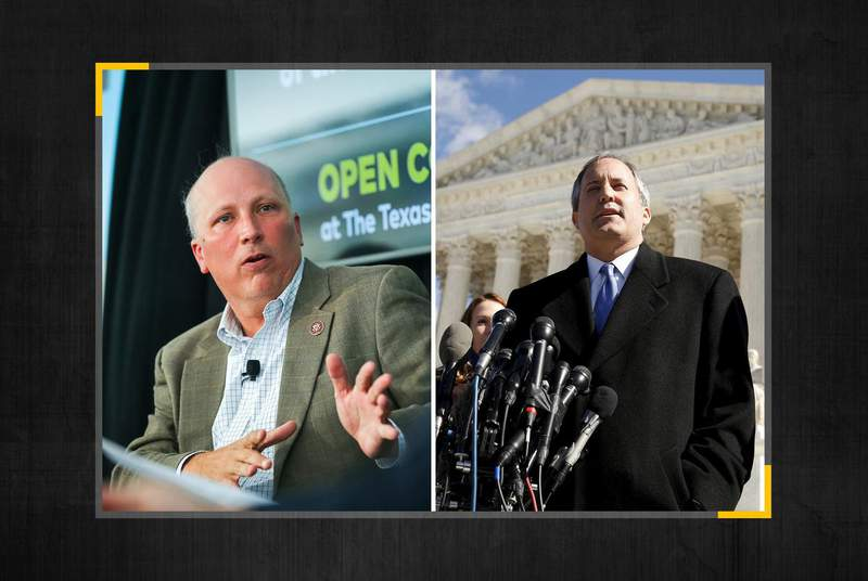 From left, U.S. Rep. Chip Roy, R-Texas, and Attorney General Ken Paxton. (Credit: The Texas Tribune)