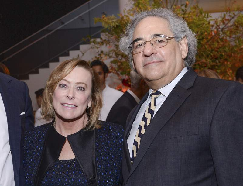 """FILE -  Fox Searchlight co-presidents Nancy Utley, left, and Steve Gilula attend the after-party for """"He Named Me Malala"""" in New York on Sept. 24, 2015. Utley and Steve Gilula who in their two decades at Searchlight Pictures oversaw the releases of major hits including Juno, Slumdog Millionaire, Little Miss Sunshine and The Grand Budapest Hotel are retiring. (Photo by Evan Agostini/Invision/AP, File)"""