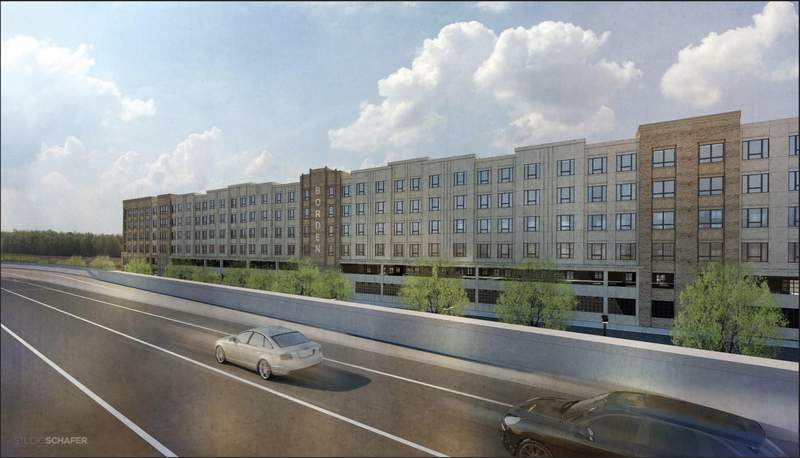 Renderings of a 338-unit apartment complex along Highway 281 that is being developed.