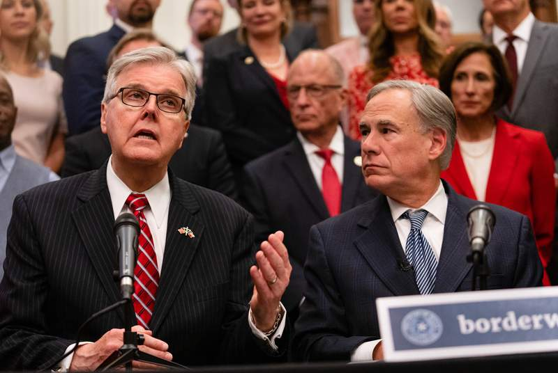 From left: Lt. Gov. Dan Patrick and Gov. Greg Abbott gave updates on their plan for Texas to build its own border wall at a press conference at the Texas Capitol on June 16, 2021.