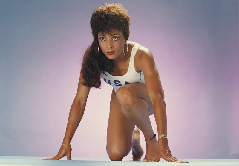 Florence Griffith-Joyner of the United States poses for a portrait on April 5, 1988, in Los Angeles.