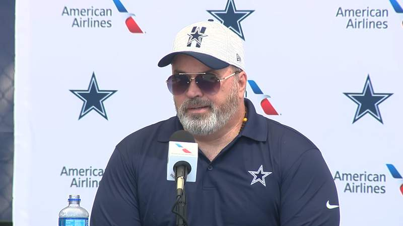 Cowboys head coach Mike McCarthy addresses the media at the annual State of the Cowboys Address at Oxnard, California on July 21, 2021.