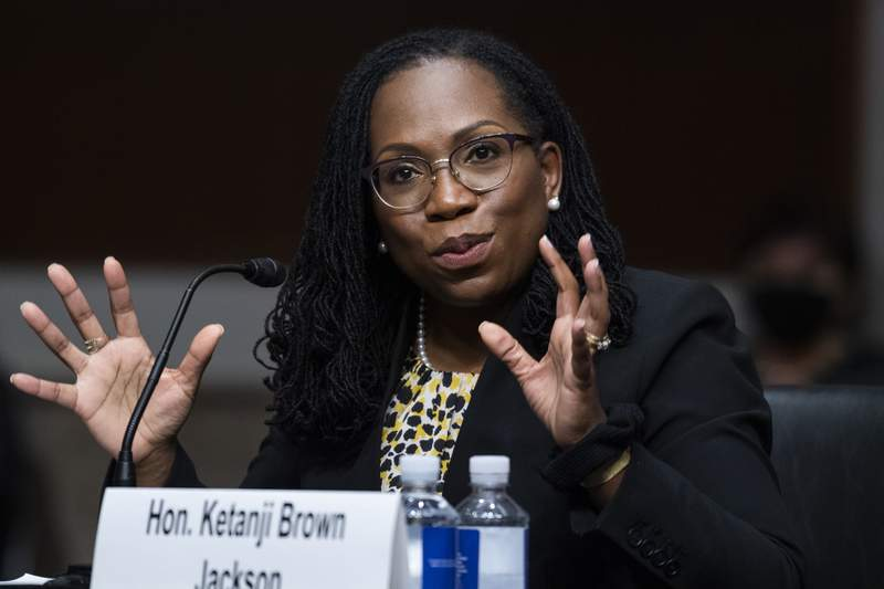 FILE - In this Wednesday, April 28, 2021, file photo, Ketanji Brown Jackson, nominated to be a U.S. Circuit Judge for the District of Columbia Circuit, testifies before a Senate Judiciary Committee hearing on pending judicial nominations, on Capitol Hill in Washington. With no Supreme Court opening to slow them, President Joe Biden and Senate Democrats are putting judges on federal trial and appellate courts at a much faster clip than any of Bidens recent predecessors. Eight judges already have been confirmed, including potential Supreme Court pick Brown Jackson to the federal appeals court in Washington. (Tom Williams/Pool Photo via AP, File)