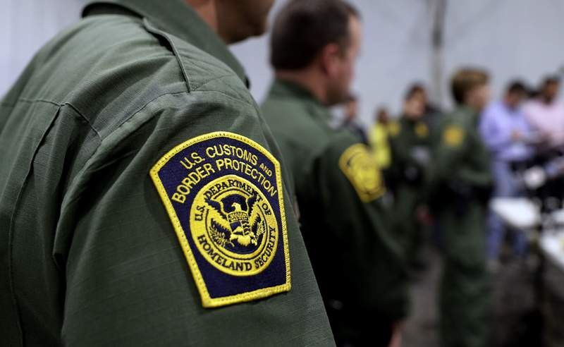 FILE - In this Thursday, May 2, 2019 file photo, Border Patrol agents hold a news conference prior to a media tour of a new U.S. Customs and Border Protection temporary facility near the Donna International Bridge in Donna, Texas. President Joe Bidens administration is refusing to allow lawyers who inspect facilities where immigrant children are detained to enter a Border Patrol tent in Texas where agents are holding hundreds of youths. The attorneys say they were allowed to speak to children at the facility in Donna on Thursday, March 11, 2021 but were denied the chance to see the areas where the youths were being held. (AP Photo/Eric Gay, File)