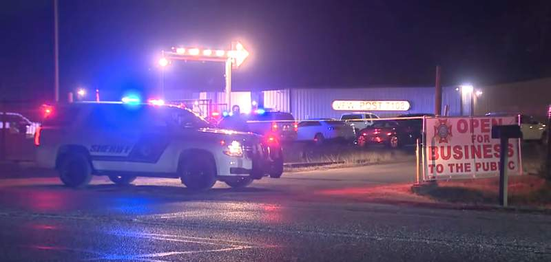 A man is hospitalized after walking into a Veterans of Foreign Wars post and getting shot by the manager after threatening him with a machete, according to the Bexar County Sheriff's Office.