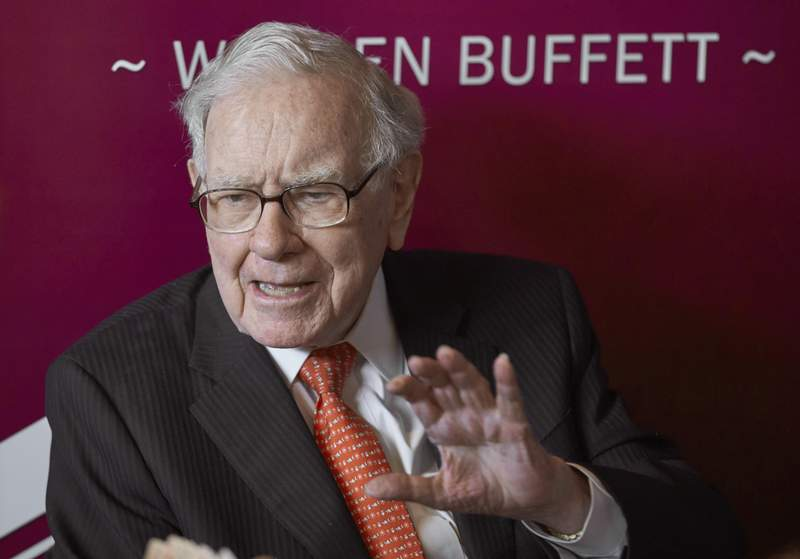FILE - In this May 5, 2019, file photo Warren Buffett, Chairman and CEO of Berkshire Hathaway, speaks following the annual Berkshire Hathaway shareholders meeting in Omaha, Neb. Berkshire Hathaway said Monday, Aug. 31, 2020, it has taken stakes of just over 5% in five major Japanese trading houses in what it says is a long-term investment. Share prices of the five huge companies surged between 4% to 9.5% on Monday in Tokyo after the company announced the investment. (AP Photo/Nati Harnik, File)