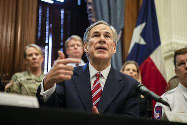 Gov. Greg Abbott declares a statewide emergency amid new cases of COVID-19 in the state on March 13, 2020 at the state capitol. (Eddie Gaspar/The Texas Tribune)