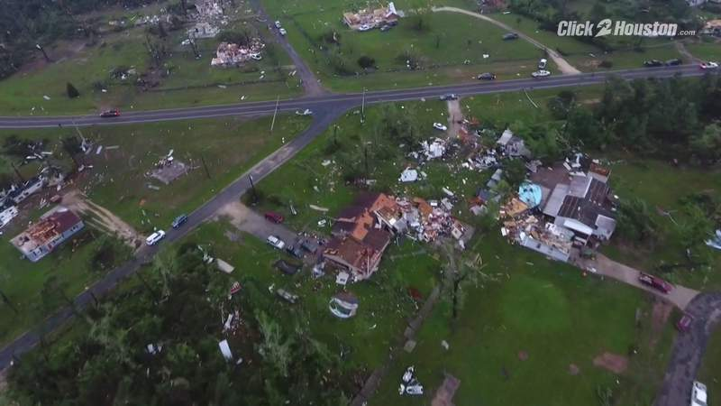 AERIALS: Drone footage from Onalaska shows the trail of destruction left by tornado Wednesday