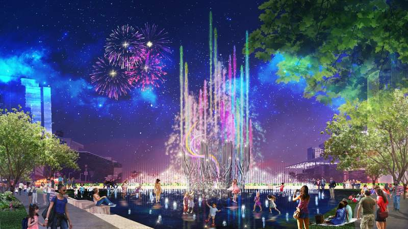 """Fountains designed by Los Angeles-based Fluidity Design Consultants show what the """"world's tallest interactive fountain"""" might look like"""