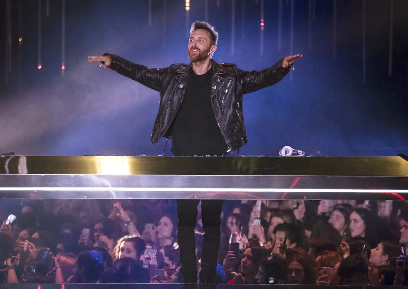 FILE - This Nov. 4, 2018 file photo shows DJ David Guetta performing during the European MTV Awards in Bilbao, Spain. Guetta is launching his new single with DJ Morten Detroit 3AM on March 6, 2020. (Photo by Vianney Le Caer/Invision/AP, File)