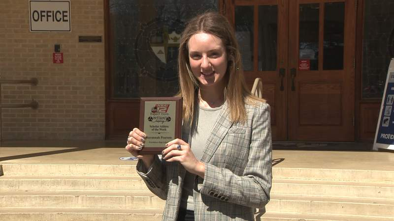 Savannah Pearson of Providence High School is awarded the Scholar Athlete of the Week for Instant Replay.