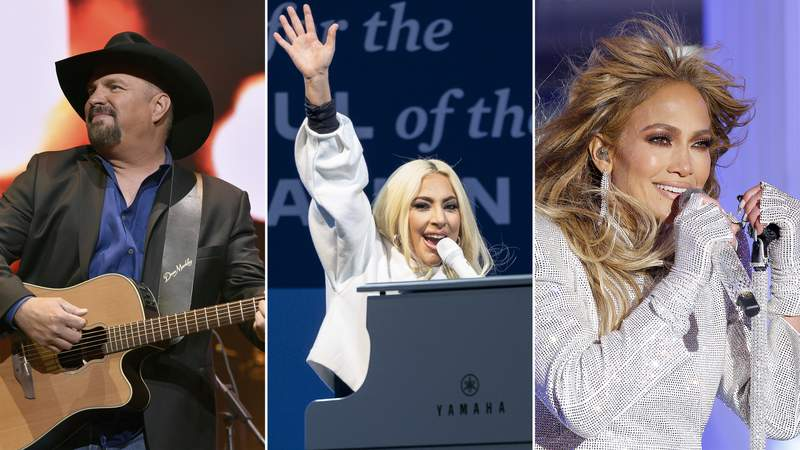 This combination photo shows Garth Brooks performing at the Loretta Lynn: An All-Star Birthday Celebration Concert at Bridgestone Arena on April 1, 2019 in Nashville, Tennessee; Lady Gaga performing in support of then-Democratic presidential nominee Joe Biden during a drive-in campaign rally at Heinz Field on November 02, 2020 in Pittsburgh, Pennsylvania; and Jennifer Lopez performing live from Times Square during 2021 New Year's Eve celebrations on December 31, 2020 in New York City. (Getty Images)