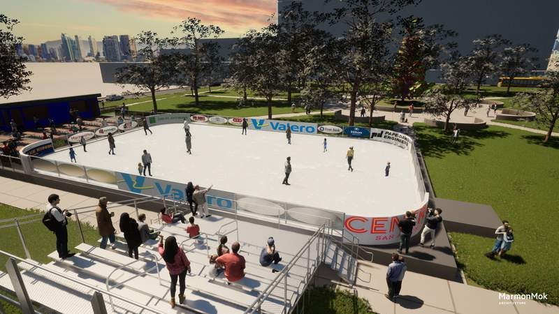 Rendering for 2021 Rotary Ice Rink in downtown San Antonio