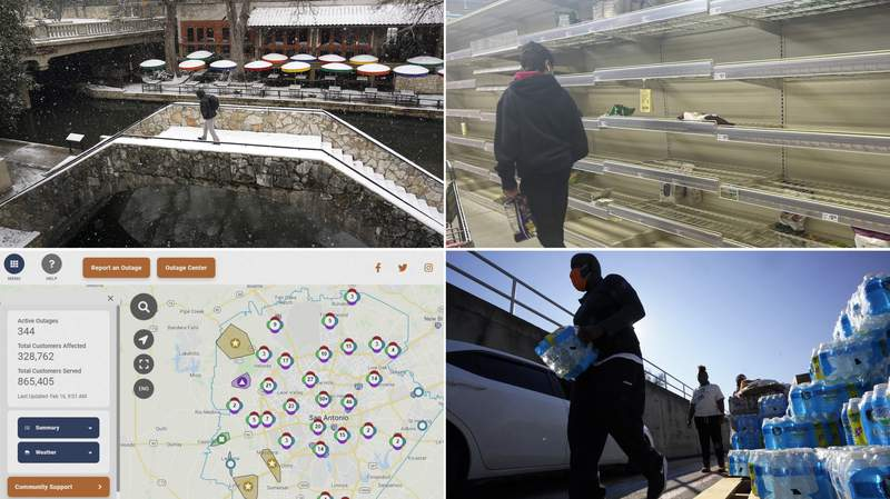 (Clockwise, starting from top left): A man crosses a bridge along the River Walk on Thursday, Feb. 18, 2021 (AP Photo/Eric Gay); a short food supply at an H-E-B store; volunteers hand out water at a San Antonio Food Bank drive-through food distribution site on Friday, Feb. 19, 2021 (AP Photo/Eric Gay); the CPS Energy Outage Map on Tuesday, Feb. 16, 2021.