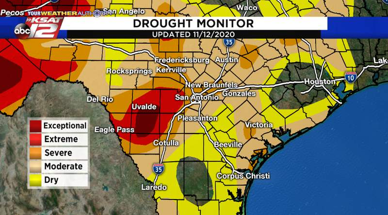 The latest drought monitor shows parts of the KSAT viewing area in 'exceptional' drought