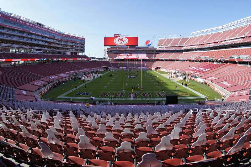 This Oct. 4, 2020, file photo, taken with a fisheye lens, shows an empty Levi's Stadium before an NFL football game between the San Francisco 49ers and the Philadelphia Eagles in Santa Clara, Calif. The 49ers and other teams may need to find a temporary new home after Santa Clara County on Saturday, Nov. 28, 2020, banned all contact sports from holding games and practices for the next three weeks. County officials issued the directives in response to rising cases of the coronavirus in the area. The rules take effect Monday and will last for three weeks.  (AP Photo/Tony Avelar, File)