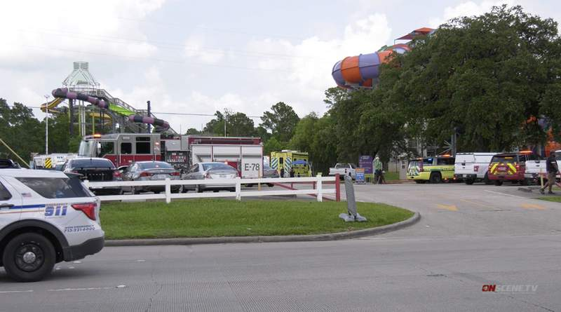 Several fire crews are responding Saturday to a chemical leak at Six Flags Hurricane Harbor Splashtown in Spring, according to Spring Fire Department.