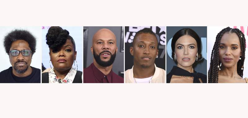The combination photo shows, from left, W. Kamau Bell, Yvette Nicole Brown, Common, Lecrae, Mandy Moore and Kerry Washington. For months, actors, sports stars, musicians and other celebrities have been using their platforms to call for justice in the police shooting death of Breonna Taylor. After a grand jury indicted one of the Kentucky police officers on criminal charges, but not for her death, celebrities reacted to the news mostly negatively. (AP Photo)