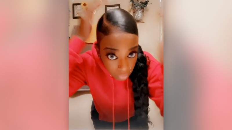 Tessica Brown demonstrates the rigidity of her hair in a TikTok video posted Feb. 3, 2021.
