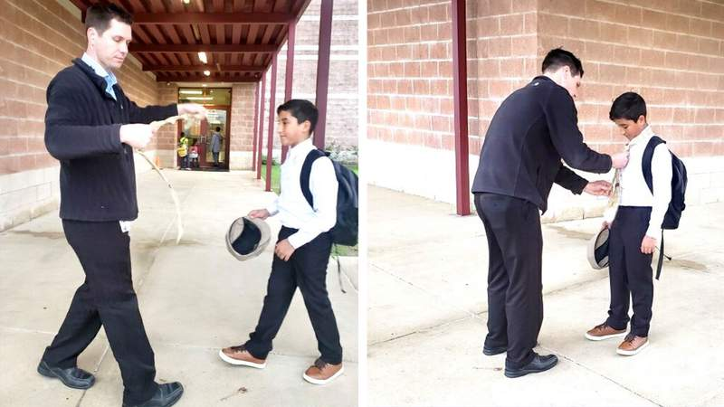 Fifth-grader Miguel Rivera arrives to school at Longs Creek excited for the field trip at the Genius Wax Museum.