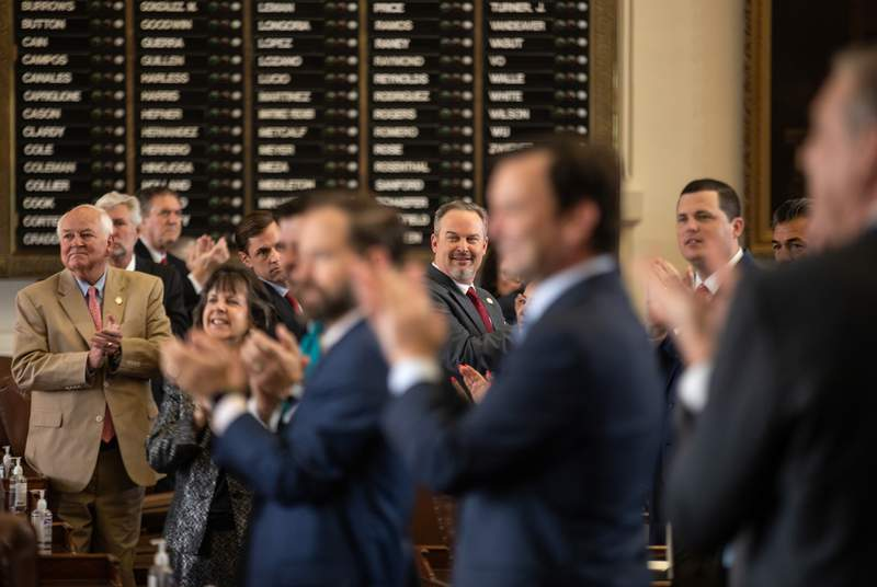State lawmakers honor Capitol staff on the last day of session on May 31, 2021.
