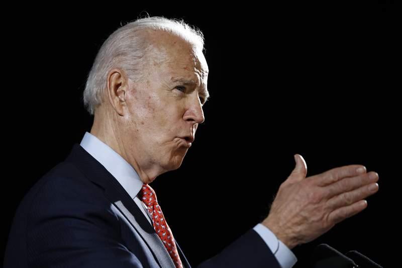 Democratic presidential candidate former Vice President Joe Biden speaks about the coronavirus Thursday, March 12, 2020, in Wilmington, De. (AP Photo/Matt Rourke)