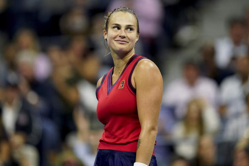Aryna Sabalenka,of Belarus, reacts after losing a point to Leylah Fernandez, of Canada, during the semifinals of the US Open tennis championships, Thursday, Sept. 9, 2021, in New York. (AP Photo/Seth Wenig)