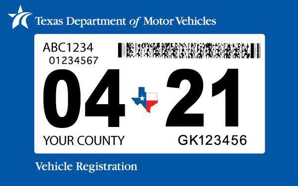 Image courtesy of the Texas Department of Motor Vehicle.