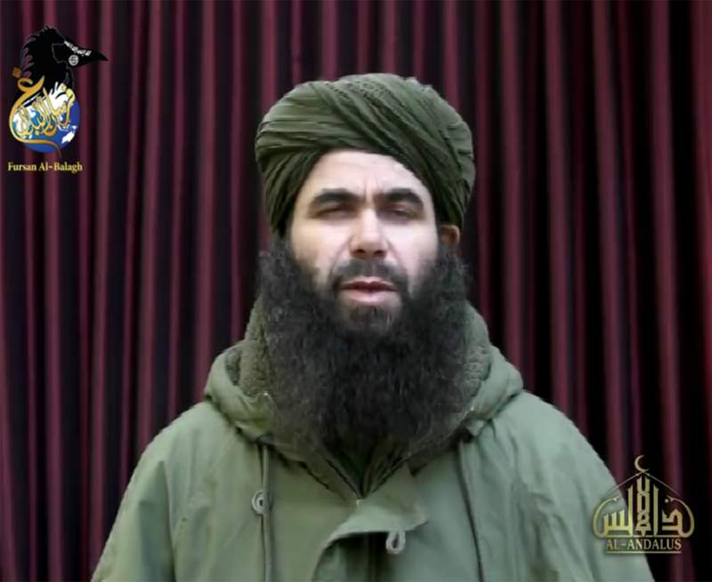 In this photo taken from video is Abdelmalek Droukdel. The French military and allied forces in Mali killed the longtime leader of al-Qaida's North African arm, who commanded jihadists in his native Algeria and then spread their movement across Africa's Sahel region, France's defense minister said Friday, June 5, 2020. Abdelmalek Droukdel, known as the emir of al-Qaida in the Islamic Maghreb, was killed in an operation Wednesday, June 3, in northern Mali along with several people in his entourage, Defense Minister Florence Parly tweeted. (Militant video via AP)