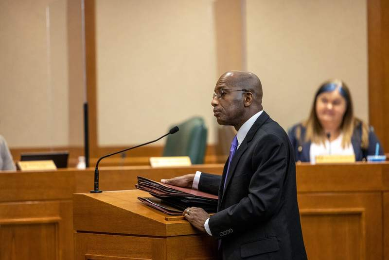 Rep. James White, R-Hillster,  testifies regarding HB 1708, legislation he proposed relating to an electronic voting system that produces a voter-verifiable paper record, on Thursday, April 8, 2021.